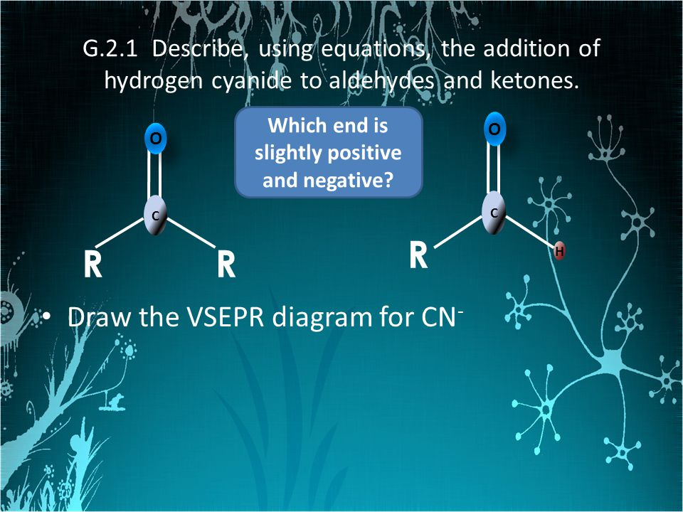 G.2.1 Describe, using equations, the addition of hydrogen cyanide to aldehydes and ketones. Draw the VSEPR diagram for CN - C O O RR H C O O R Which e