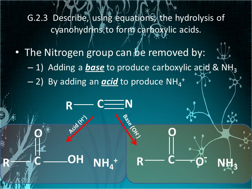 The Nitrogen group can be removed by: – 1) Adding a base to produce carboxylic acid & NH 3 – 2) By adding an acid to produce NH 4 + C R N Acid (H + )