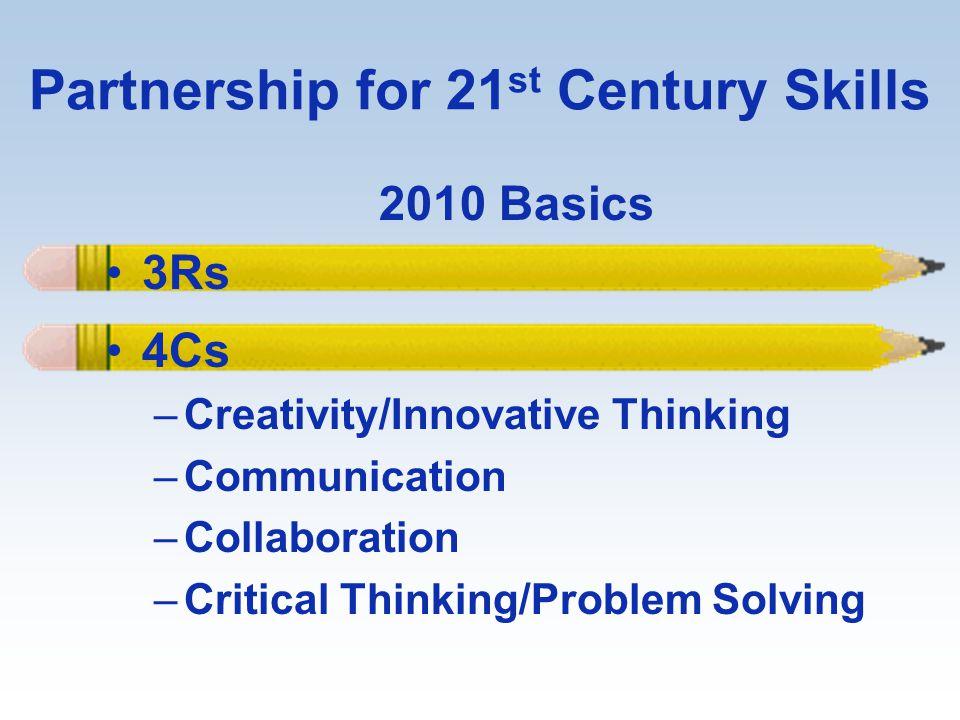 Partnership for 21 st Century Skills 2010 Basics 3Rs 4Cs –Creativity/Innovative Thinking –Communication –Collaboration –Critical Thinking/Problem Solv
