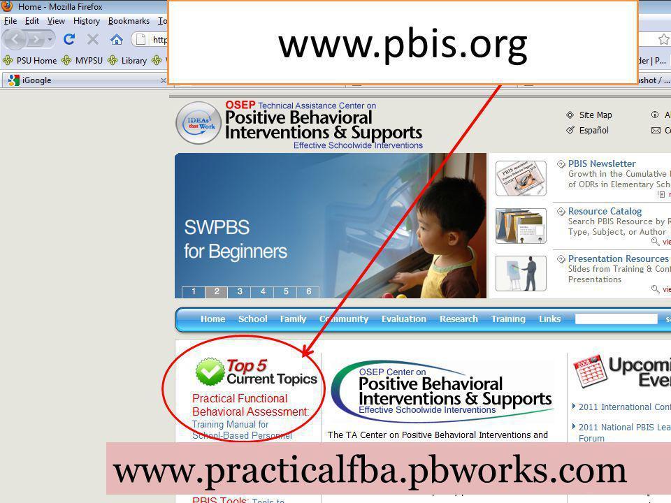www.pbis.org www.practicalfba.pbworks.com