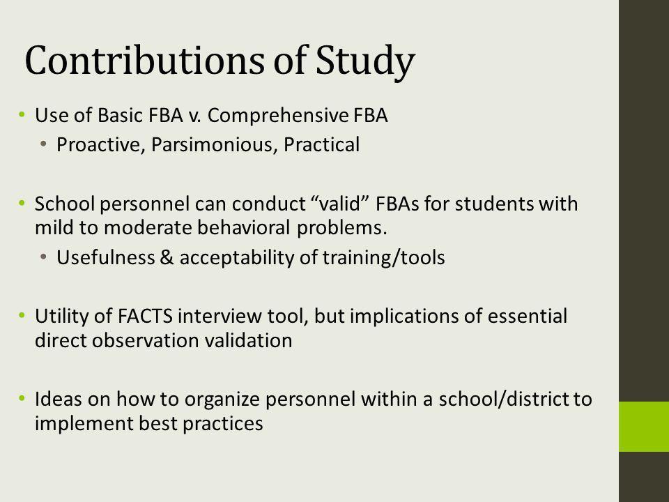 Contributions of Study Use of Basic FBA v.