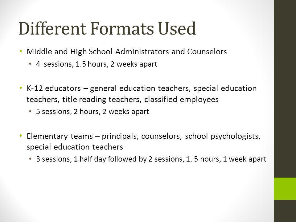 Different Formats Used Middle and High School Administrators and Counselors 4 sessions, 1.5 hours, 2 weeks apart K-12 educators – general education teachers, special education teachers, title reading teachers, classified employees 5 sessions, 2 hours, 2 weeks apart Elementary teams – principals, counselors, school psychologists, special education teachers 3 sessions, 1 half day followed by 2 sessions, 1.