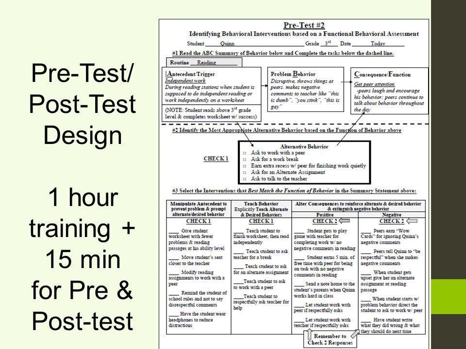Pre-Test/ Post-Test Design 1 hour training + 15 min for Pre & Post-test