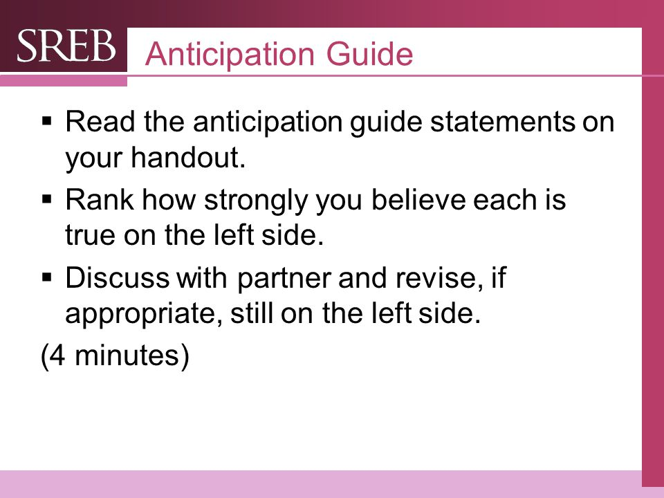 Company LOGO Anticipation Guide  Read the anticipation guide statements on your handout.
