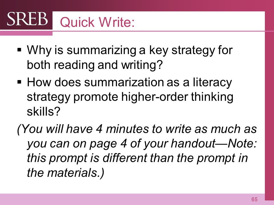 Company LOGO Quick Write:  Why is summarizing a key strategy for both reading and writing.