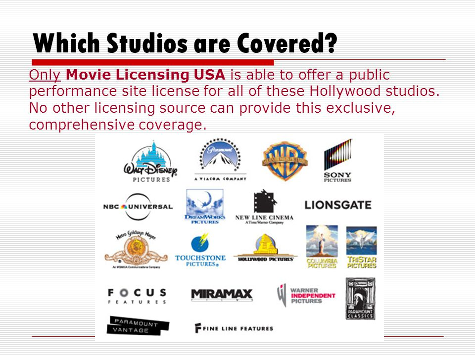 Which Studios are Covered.