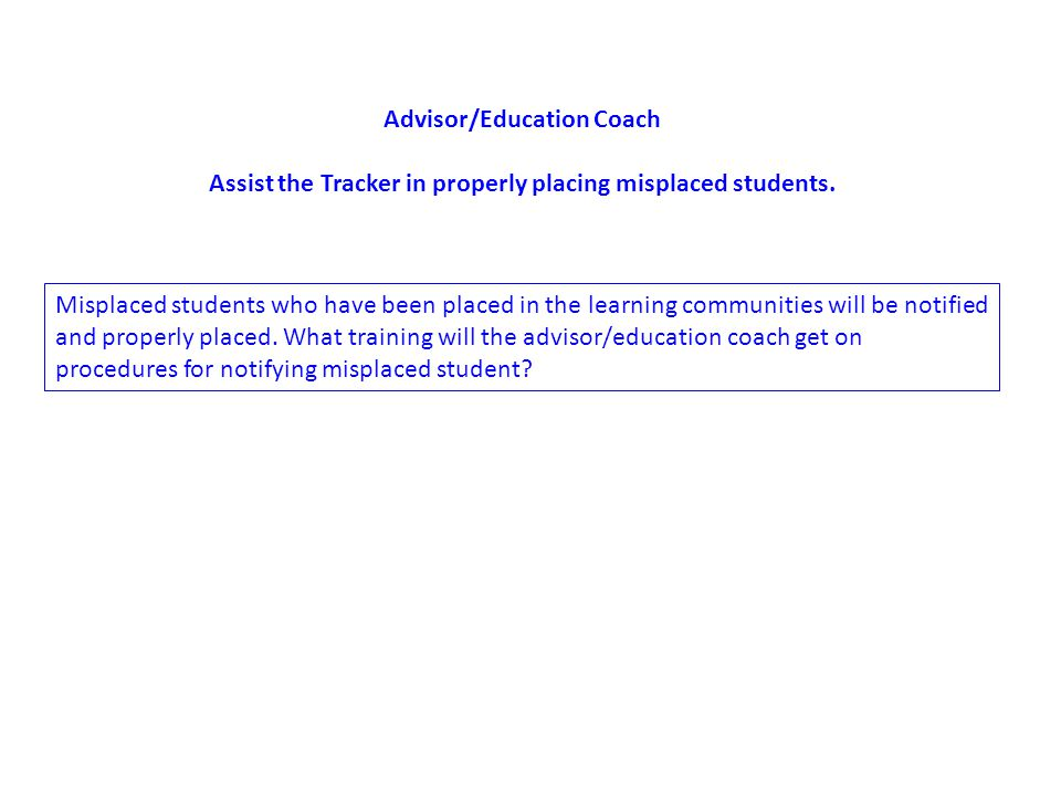 Advisor/Education Coach Assist the Tracker in properly placing misplaced students.