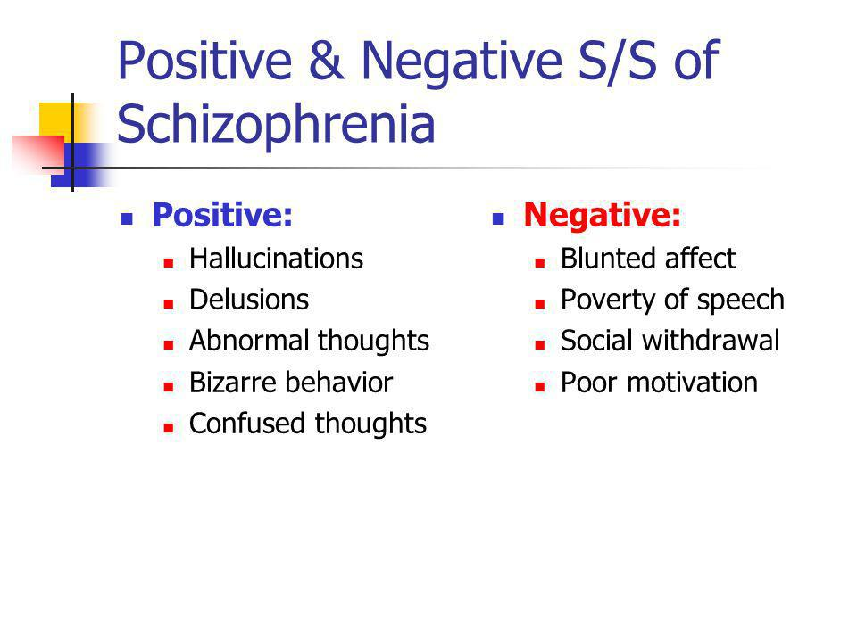 Positive & Negative S/S of Schizophrenia Positive: Hallucinations Delusions Abnormal thoughts Bizarre behavior Confused thoughts Negative: Blunted aff