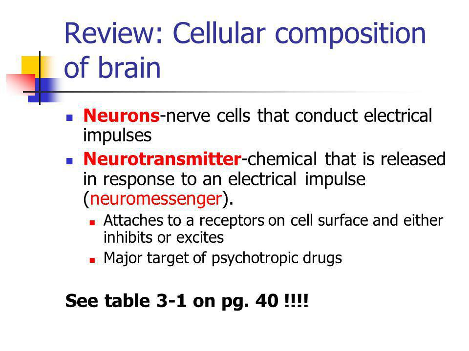 Review: Cellular composition of brain Neurons-nerve cells that conduct electrical impulses Neurotransmitter-chemical that is released in response to a