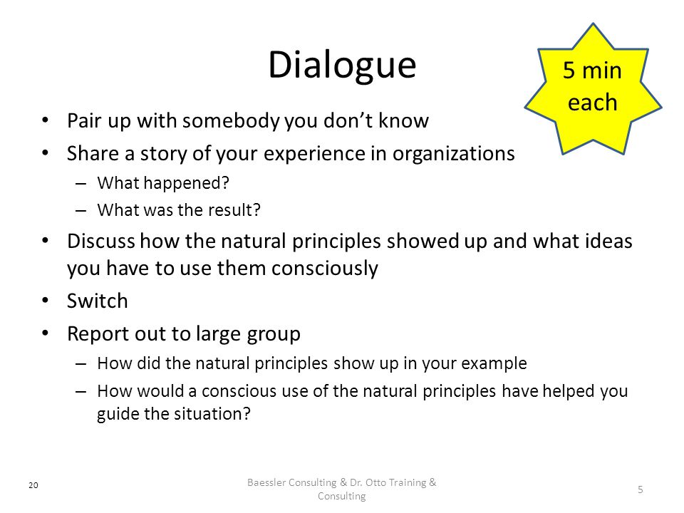 Dialogue Pair up with somebody you don't know Share a story of your experience in organizations – What happened.
