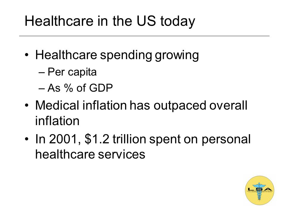 Healthcare in the US today Healthcare spending growing –Per capita –As % of GDP Medical inflation has outpaced overall inflation In 2001, $1.2 trillion spent on personal healthcare services