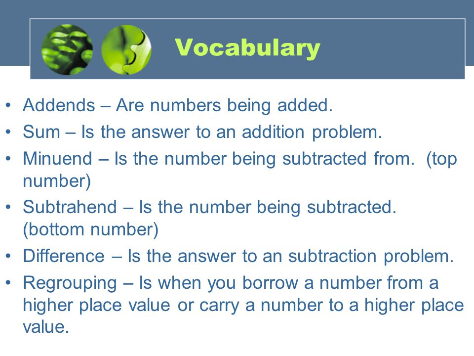 Vocabulary Addends – Are numbers being added. Sum – Is the answer to an addition problem.
