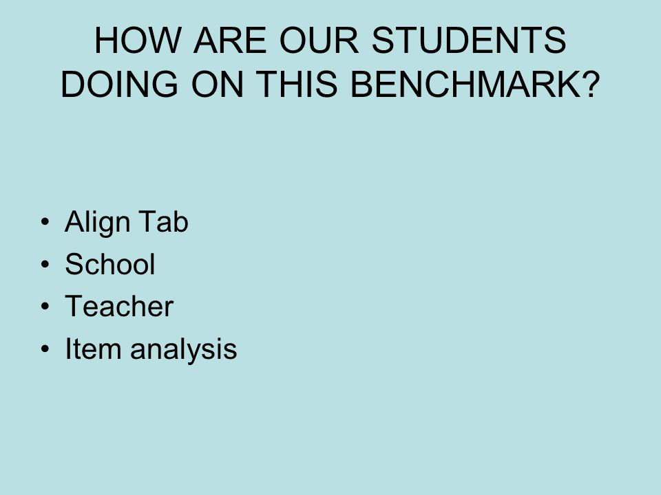 HOW ARE OUR STUDENTS DOING ON THIS BENCHMARK Align Tab School Teacher Item analysis