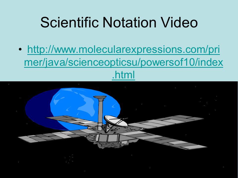 Scientific Notation Video http://www.molecularexpressions.com/pri mer/java/scienceopticsu/powersof10/index.htmlhttp://www.molecularexpressions.com/pri
