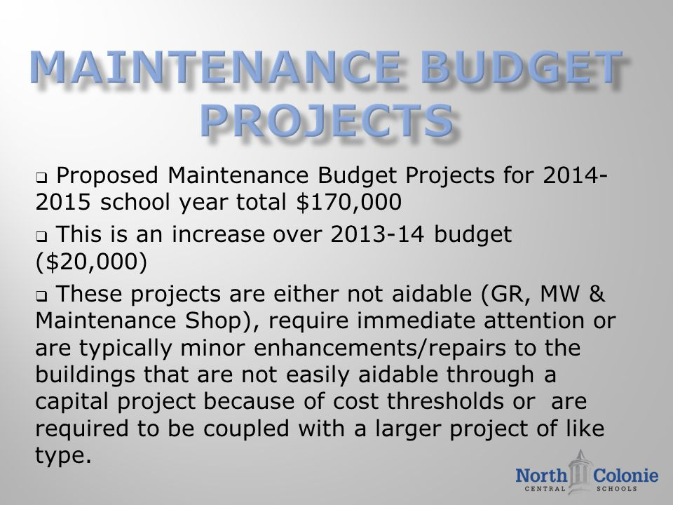  Proposed Maintenance Budget Projects for 2014- 2015 school year total $170,000  This is an increase over 2013-14 budget ($20,000)  These projects are either not aidable (GR, MW & Maintenance Shop), require immediate attention or are typically minor enhancements/repairs to the buildings that are not easily aidable through a capital project because of cost thresholds or are required to be coupled with a larger project of like type.