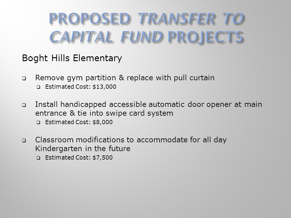Boght Hills Elementary  Remove gym partition & replace with pull curtain  Estimated Cost: $13,000  Install handicapped accessible automatic door opener at main entrance & tie into swipe card system  Estimated Cost: $8,000  Classroom modifications to accommodate for all day Kindergarten in the future  Estimated Cost: $7,500
