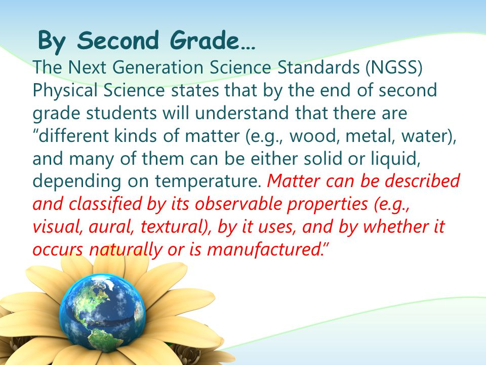 Texas Pre-Kindergarten Guidelines: Science Domain: VI.B.1 The child identifies and describes the characteristics (including similarities and differences) of organisms VI.C.1.