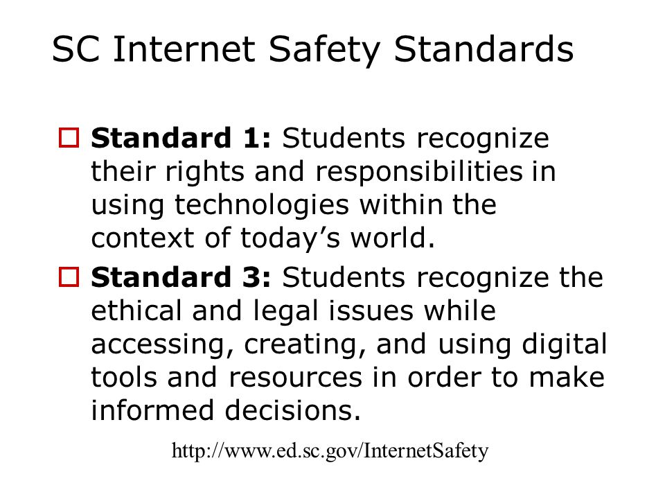SC Internet Safety Standards  Standard 1: Students recognize their rights and responsibilities in using technologies within the context of today's world.