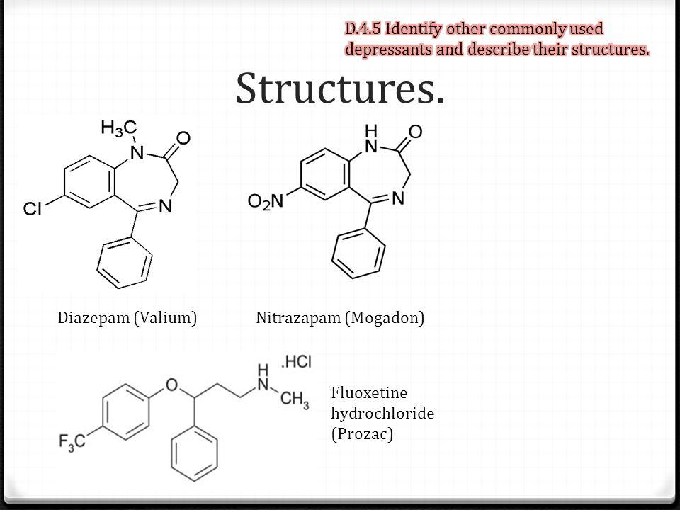 Structures. Diazepam (Valium)Nitrazapam (Mogadon) Fluoxetine hydrochloride (Prozac)
