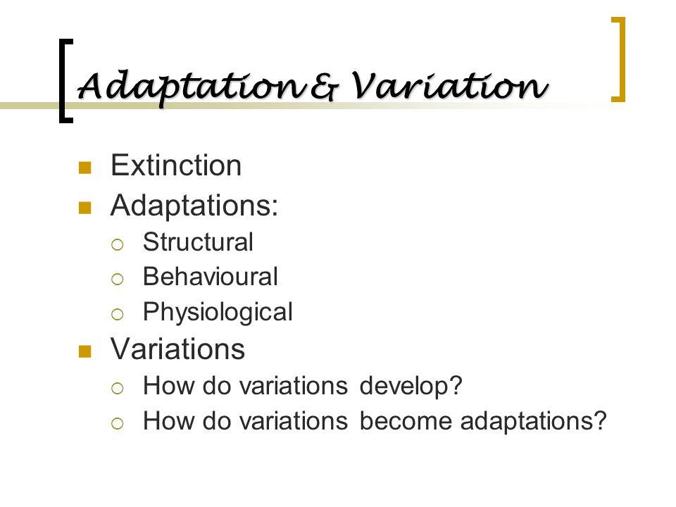 Adaptation & Variation Extinction Adaptations:  Structural  Behavioural  Physiological Variations  How do variations develop?  How do variations