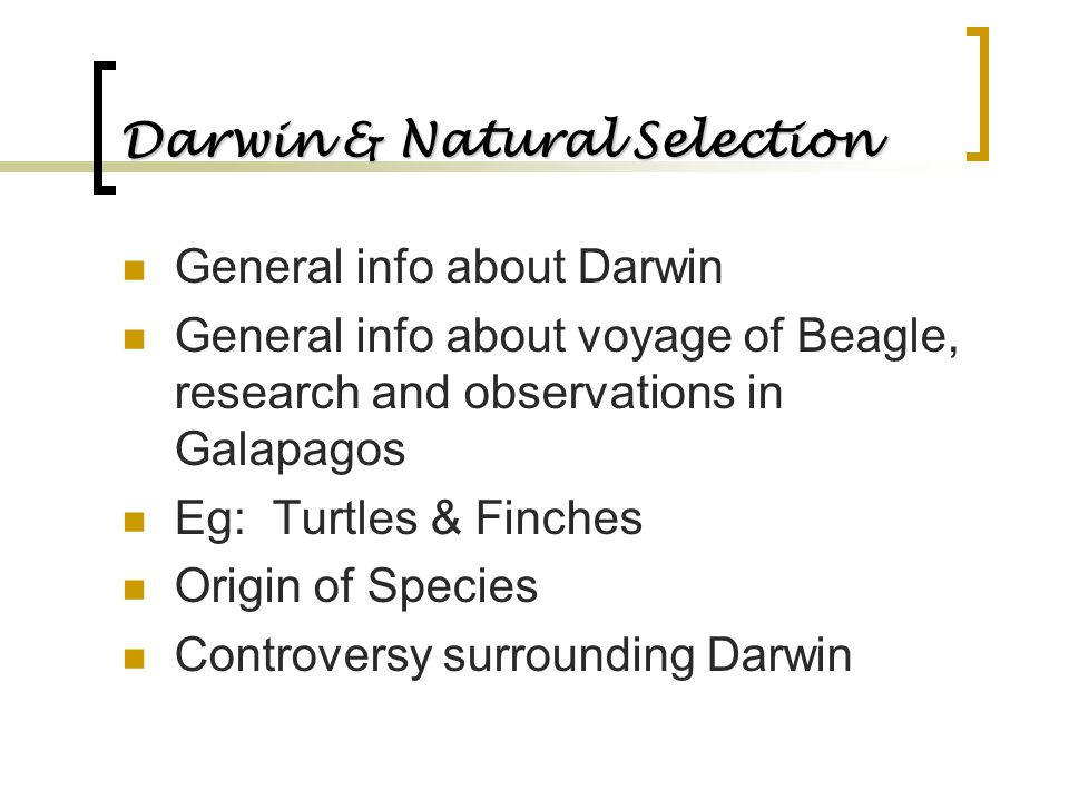 Darwin & Natural Selection General info about Darwin General info about voyage of Beagle, research and observations in Galapagos Eg: Turtles & Finches
