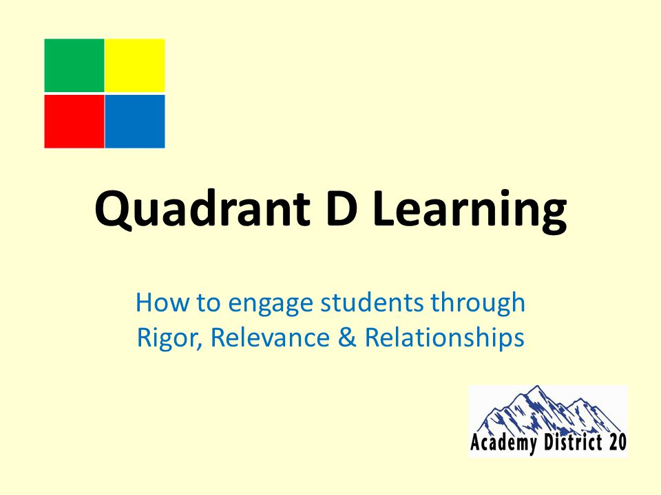 Quadrant D Learning How to engage students through Rigor, Relevance & Relationships
