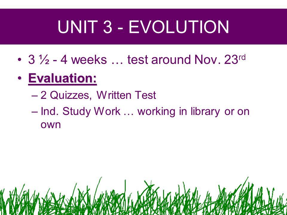 UNIT 3 - EVOLUTION 3 ½ - 4 weeks … test around Nov.