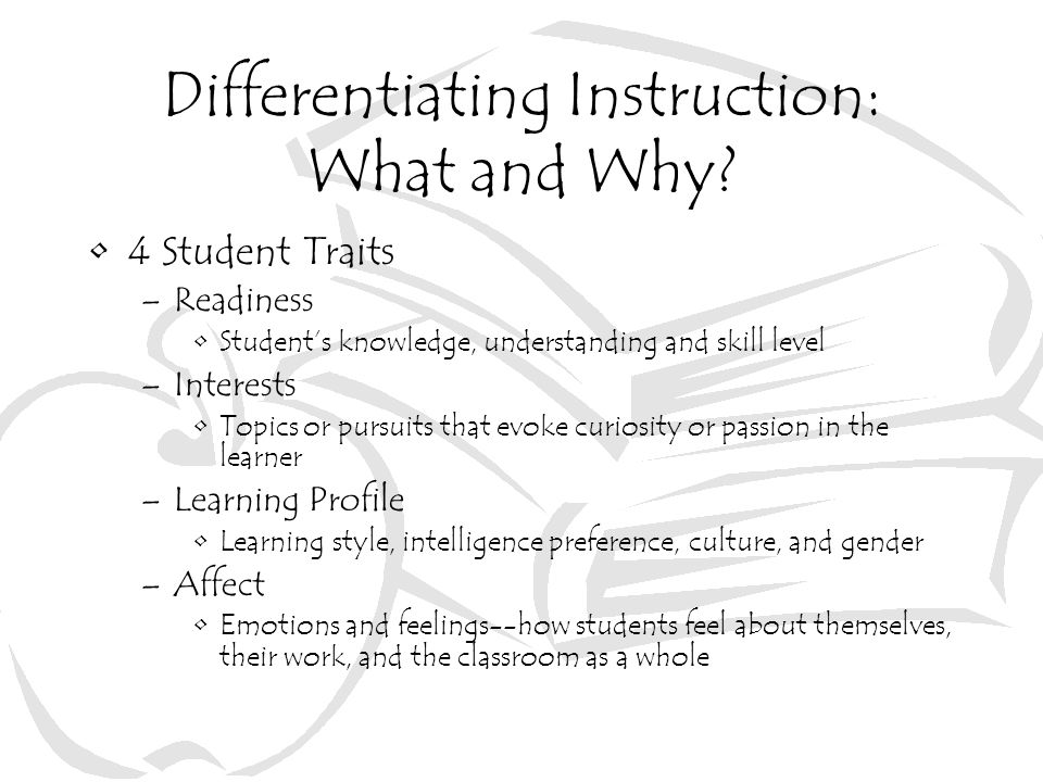 Differentiating Instruction: What and Why.