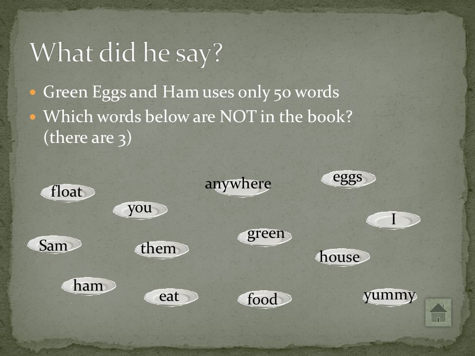 eggs Green Eggs and Ham uses only 50 words Which words below are NOT in the book? (there are 3) I yummy house food green anywhere them eat you float S