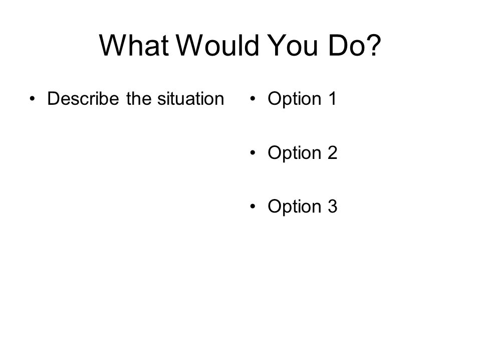 What Would You Do? Describe the situationOption 1 Option 2 Option 3