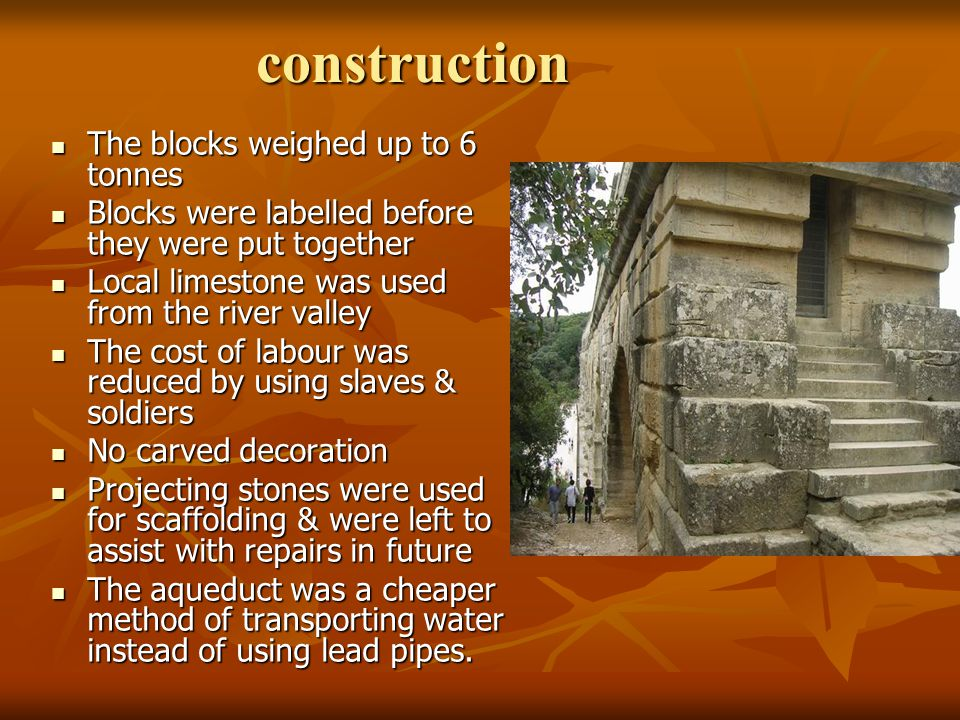 construction The blocks weighed up to 6 tonnes The blocks weighed up to 6 tonnes Blocks were labelled before they were put together Blocks were labell