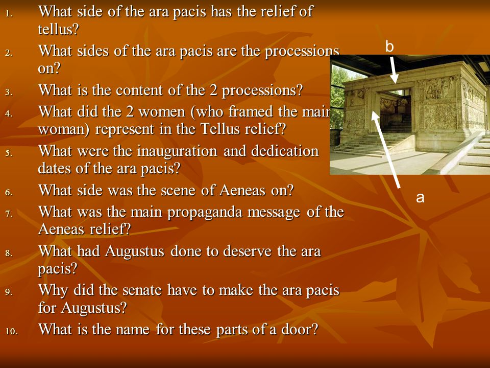 1. What side of the ara pacis has the relief of tellus? 2. What sides of the ara pacis are the processions on? 3. What is the content of the 2 process