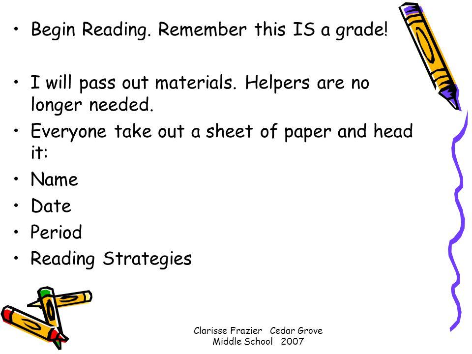 What Do Good Readers Do? 8 th grade ELA