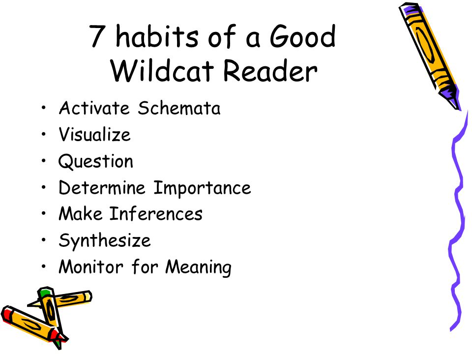 7 habits of a Good Wildcat Reader Activate Schemata Visualize Question Determine Importance Make Inferences Synthesize Monitor for Meaning