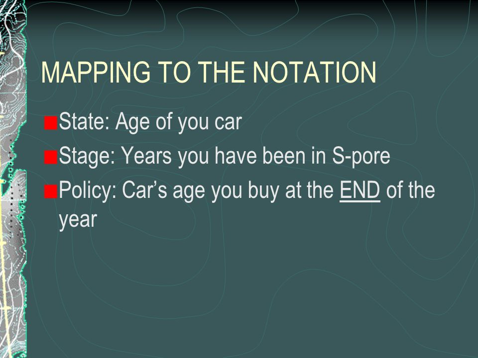 EXAMPLE You have moved to Singapore, and you need to operate a car for 3 yrs. You plan to sell the car when you leave Your QOL is not affected by your