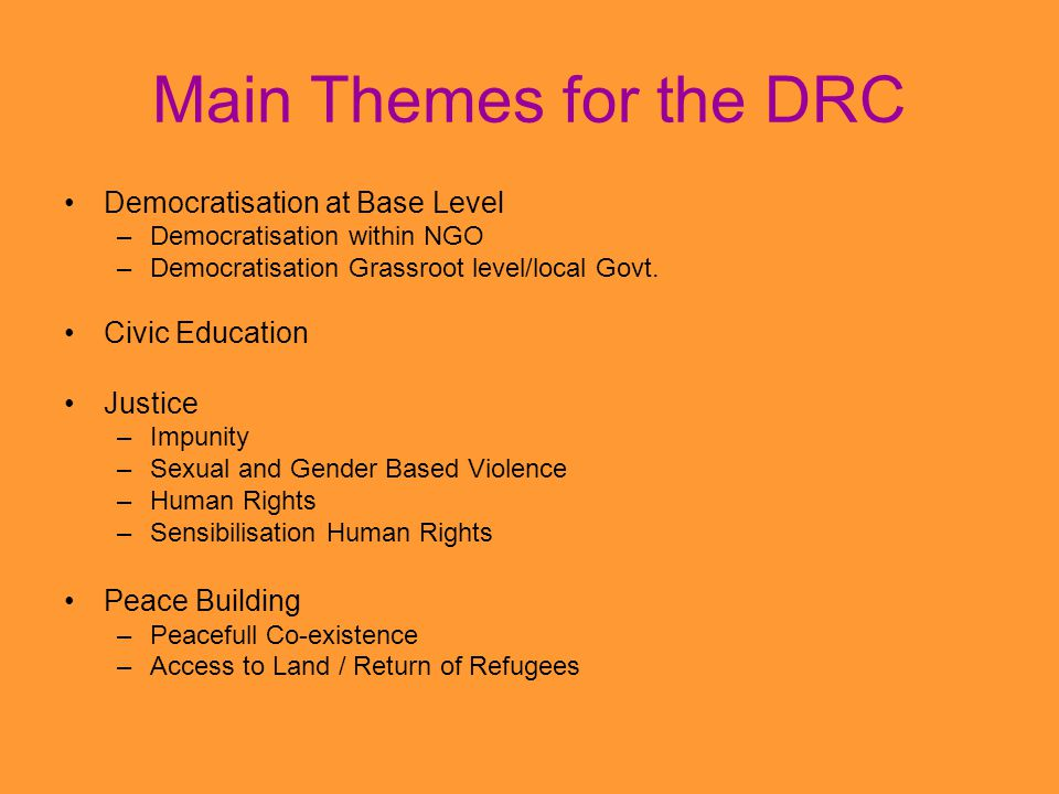 Main Themes for the DRC Democratisation at Base Level –Democratisation within NGO –Democratisation Grassroot level/local Govt.