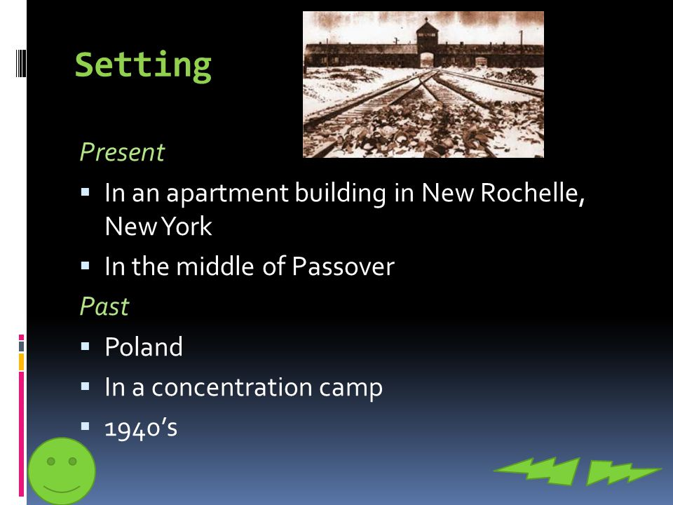 Setting Present  In an apartment building in New Rochelle, New York  In the middle of Passover Past  Poland  In a concentration camp  1940's