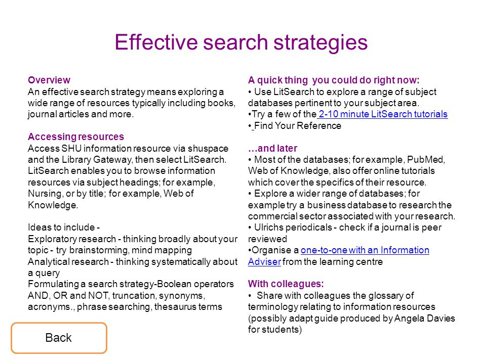 Effective search strategies Overview An effective search strategy means exploring a wide range of resources typically including books, journal articles and more.