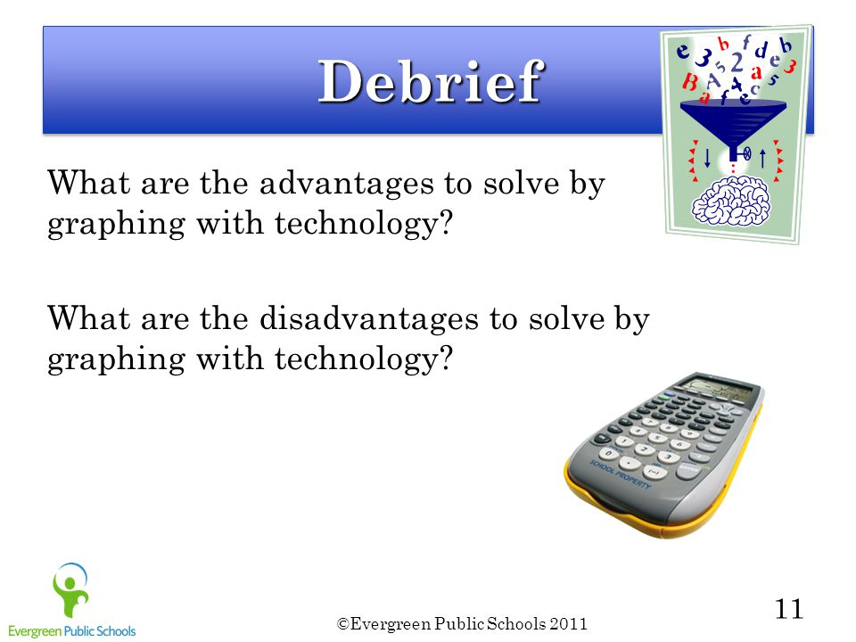©Evergreen Public Schools 2011 11 DebriefDebrief What are the advantages to solve by graphing with technology.