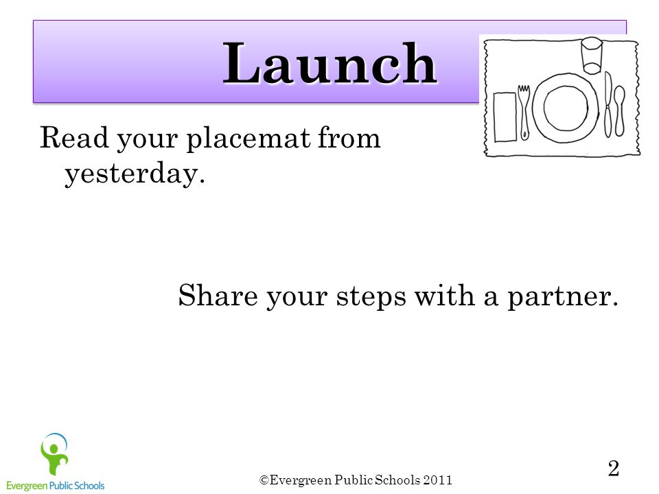 LaunchLaunch Read your placemat from yesterday. Share your steps with a partner. ©Evergreen Public Schools 2011 2