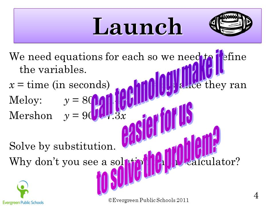 LaunchLaunch We need equations for each so we need to define the variables. x = time (in seconds) y = distance they ran Meloy: y = 80 – 6.4 x Mershon