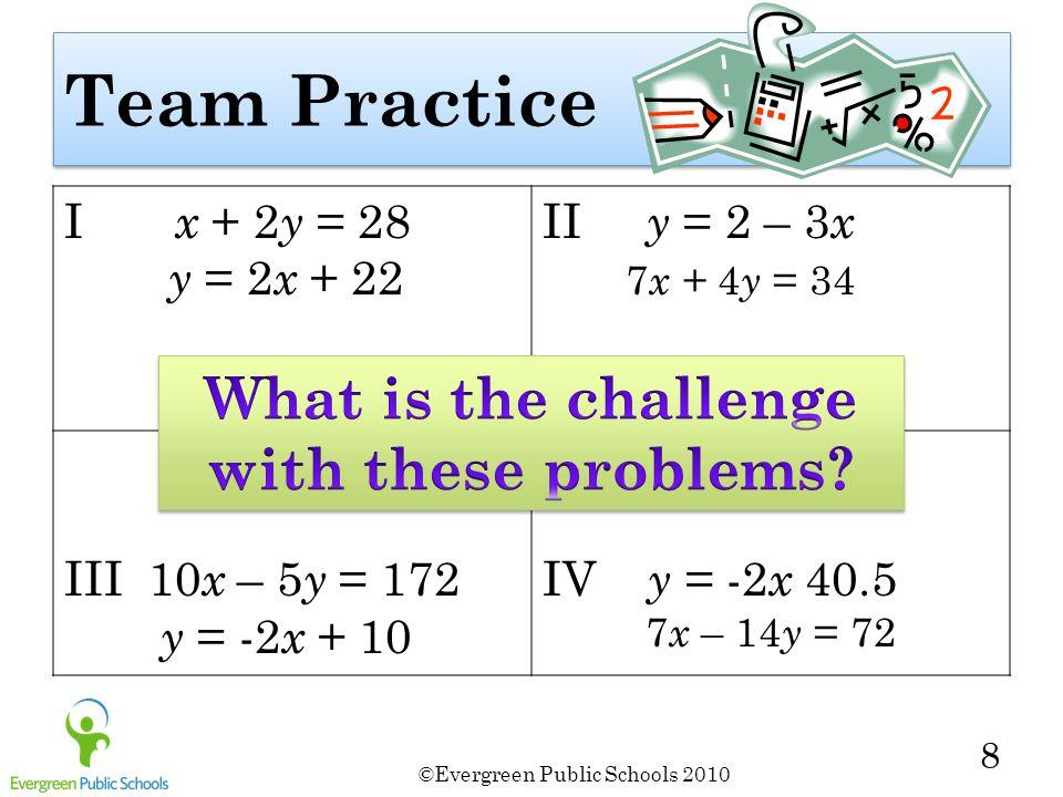 ©Evergreen Public Schools 2010 8 Team Practice I x + 2 y = 28 y = 2 x + 22 II y = 2 – 3 x 7 x + 4 y = 34 III 10 x – 5 y = 172 y = -2 x + 10 IV y = -2 x 40.5 7 x – 14 y = 72