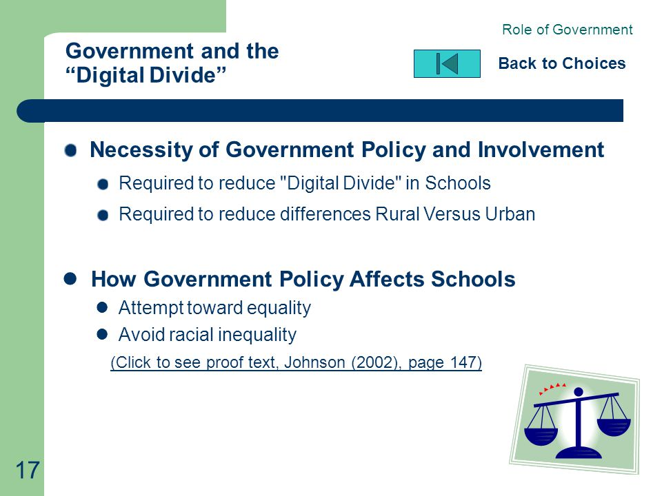 "17 Government and the ""Digital Divide"" Back to Choices Necessity of Government Policy and Involvement Required to reduce"