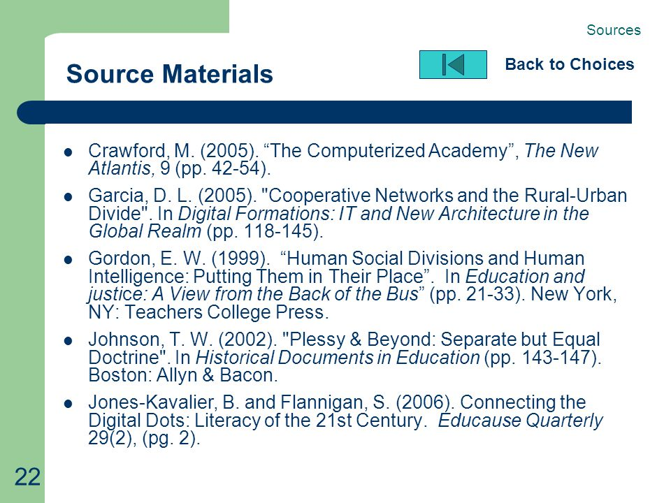 "22 Source Materials Back to Choices Crawford, M. (2005). ""The Computerized Academy"", The New Atlantis, 9 (pp. 42-54). Garcia, D. L. (2005)."