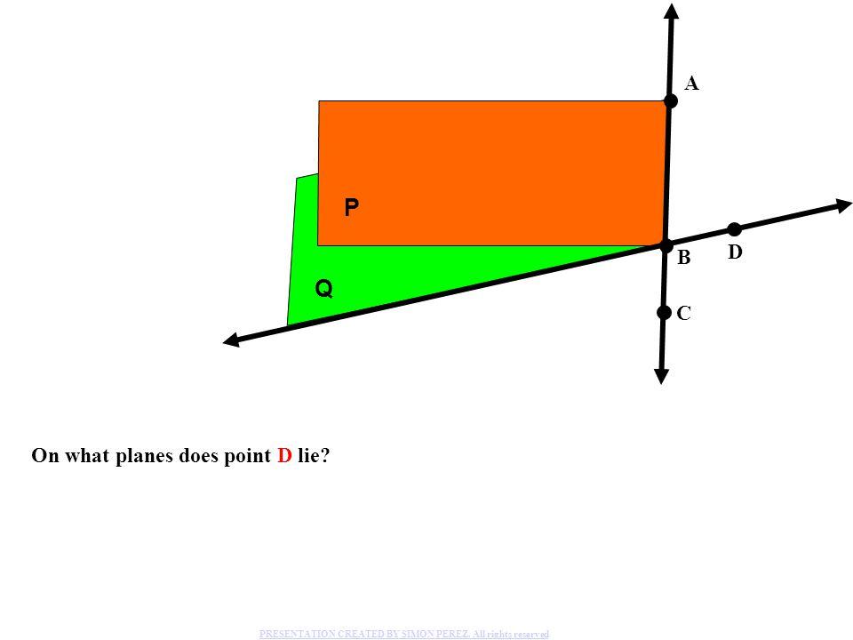 On what planes does point D lie.P Q A B C D PRESENTATION CREATED BY SIMON PEREZ.