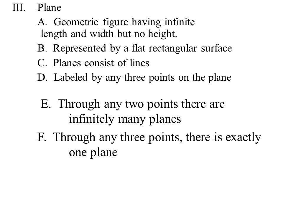 III.Plane A.Geometric figure having infinite length and width but no height.