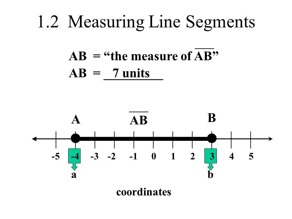 1.2 Measuring Line Segments 0-2-3-4-523451 A B coordinates ab AB = the measure of AB AB= _________7 units