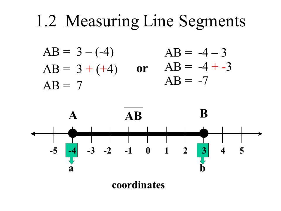 1.2 Measuring Line Segments 0-2-3-4-523451 A B coordinates ab AB AB = 3 – (-4) AB = 3 + (+4) AB = 7 or AB = -4 – 3 AB = -4 + -3 AB = -7