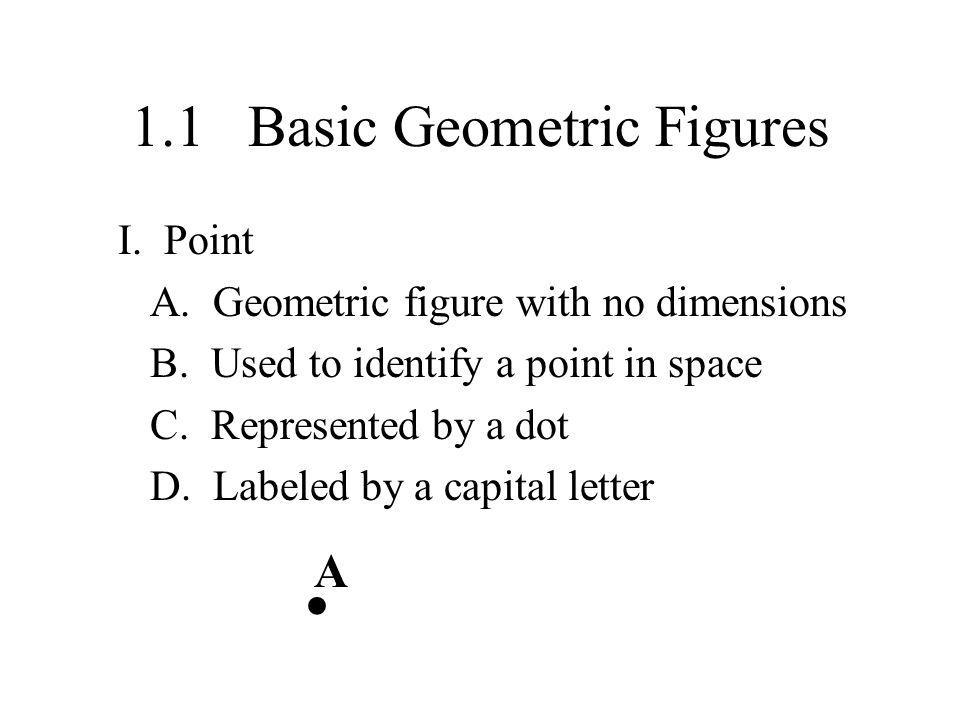 1.1 Basic Geometric Figures I.Point A. Geometric figure with no dimensions B.