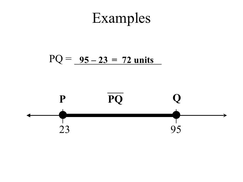 Examples P Q PQ 2395 PQ = ________________ 95 – 23= 72 units